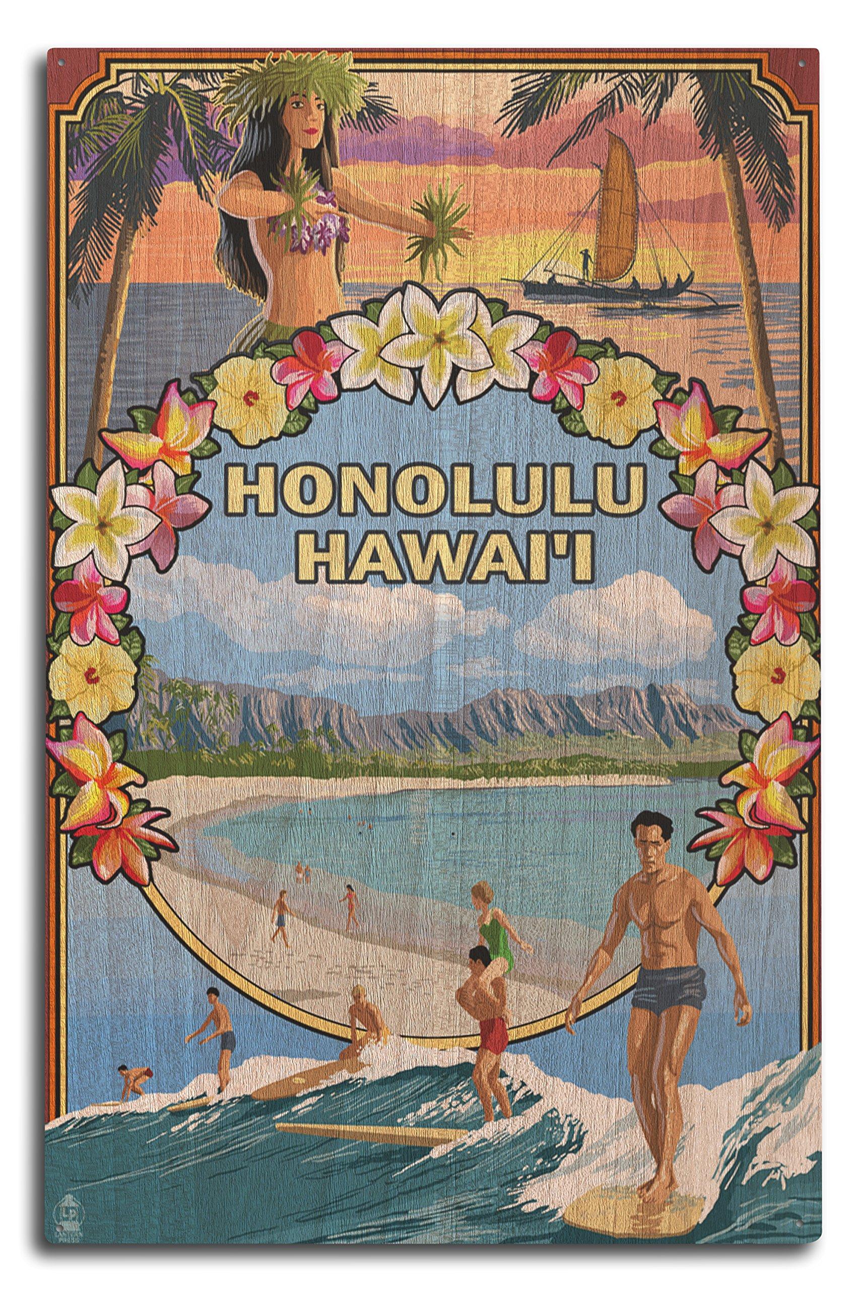 Honolulu, Hawaii - Montage (10x15 Wood Wall Sign, Wall Decor Ready to Hang)