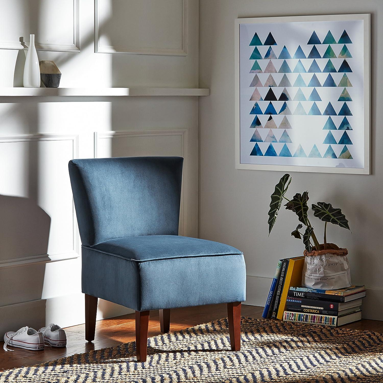 Rivet in velluto colore blu navy sedia senza braccioli modello Ashworth