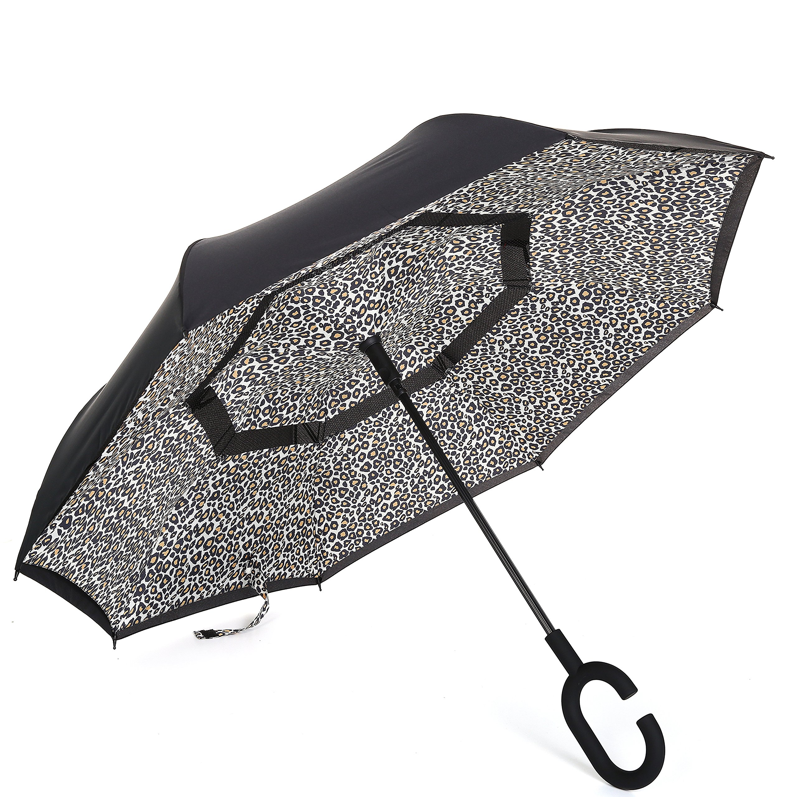 Barasol Reverse Folding Umbrella Travel Windproof Compact Umbrella Waterproof Double Canopy Vented Layer Inverted Close Golf Umbrella Lightweight for Man Women, Manually Open Leopard by Barasol (Image #1)