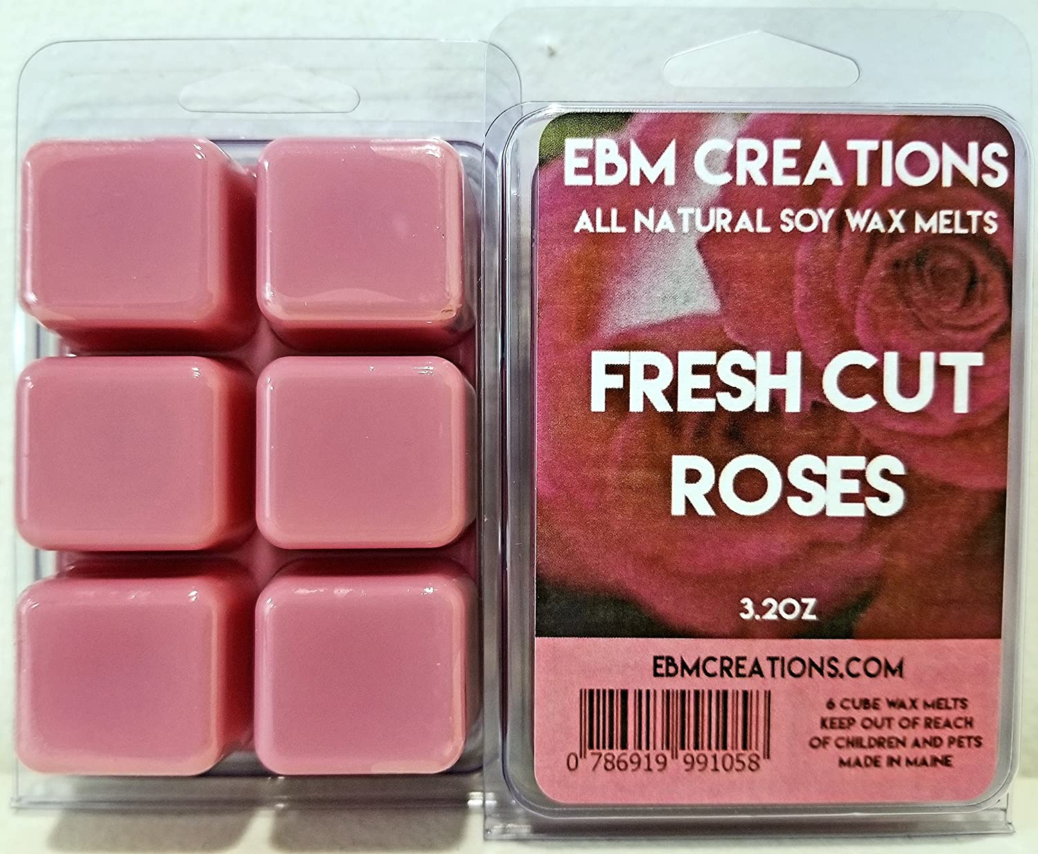 Fresh Cut Roses - Scented All Natural Soy Wax Melts - 6 Cube Clamshell 3.2oz Highly Scented!