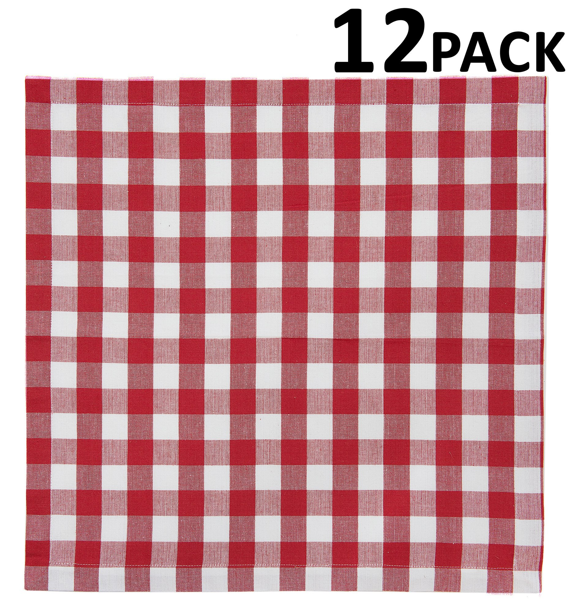 Cotton Craft 12 Pack Gingham Checks Oversized Dinner Napkins - Red - Size 20x20-100% Cotton - Tailored with mitered corners and a generous hem - Easy care machine wash by Cotton Craft (Image #2)