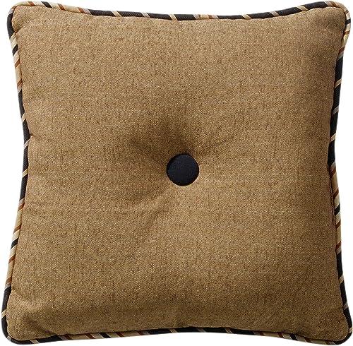 HiEnd Accents Ashbury Tufted Throw Pillow, 18 x 18 , Black Tan