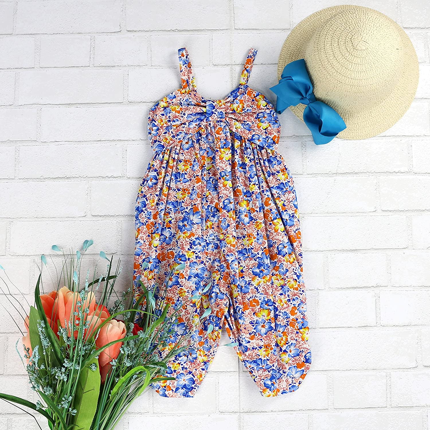 Toddlers and Girls 2T-7//8 LELEFORKIDS Blooming in Cuteness Jumpsuit