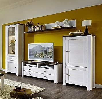 Stella Trading ANLL711080 Wohnzimmerschrank Wohnwand Anbauwand TV Wohnlosung Mit LED Beleuchtung Holz Weiss