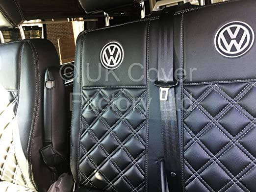 Single and Double for a VW Transporter T5 T26 T28 T30 T32 Van Seat Cover A150BK-VW BENTLEY QUILTED PVC LEATHER MADE TO MEASURE SEAT COVERS