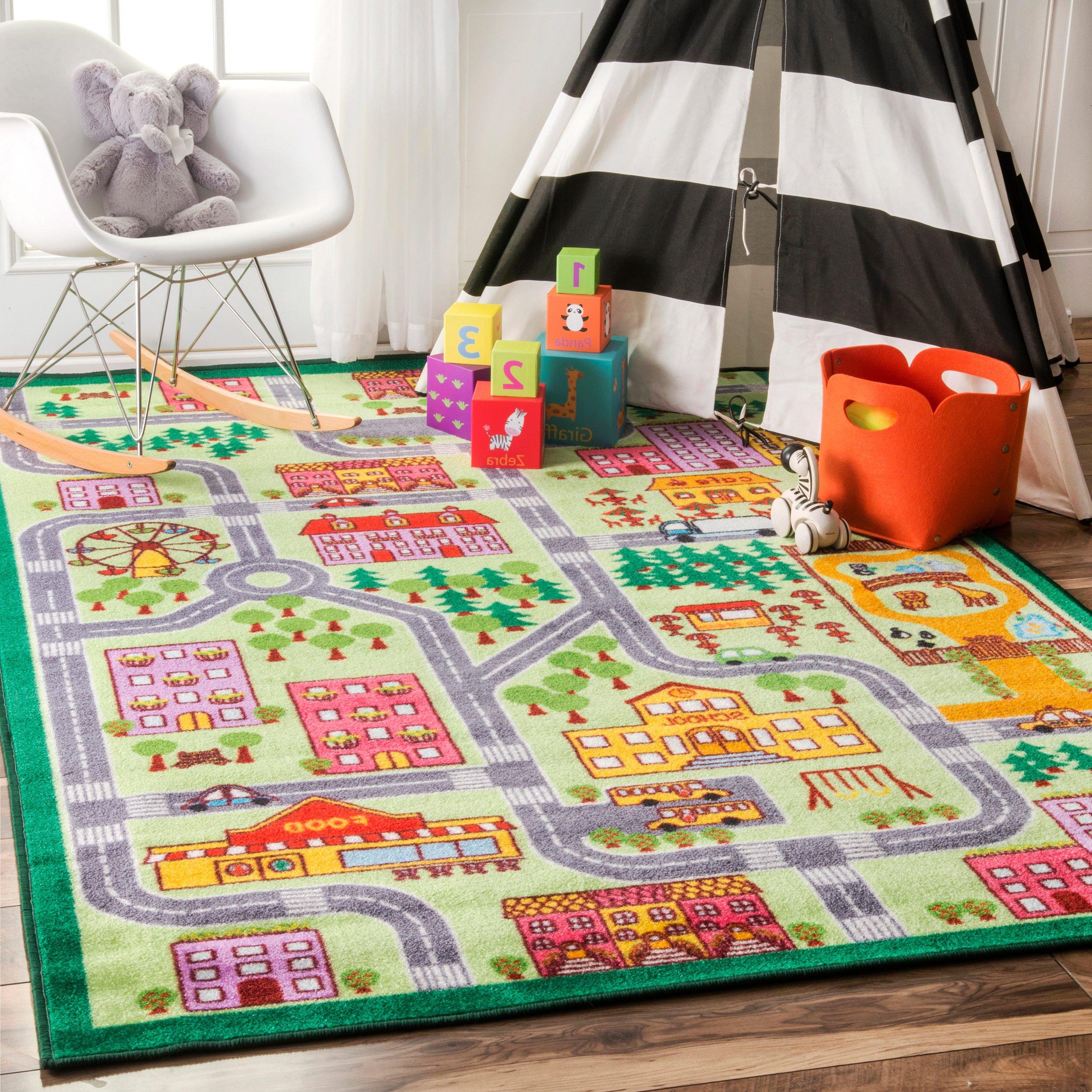 Nursery City Neighborhood Multi Kids Area Rugs, 5 Feet by 7 Feet 5 Inches (5' x 7' 5'')