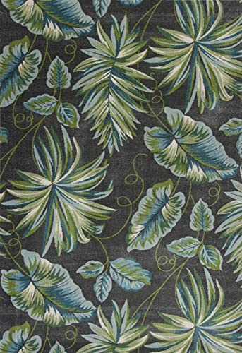 Tropical Palm Leaves 7 10 x 10 10 Area Rug in Grey