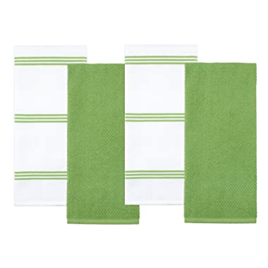 Sticky Toffee Cotton Terry Kitchen Dish Towel, Green, 4 Pack, 28 in x 16 in