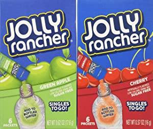 Jolly Rancher Singles to Go Variety Bundle 0.57 oz (Pack of 12) ~ 6 Green Apple & 6 Cherry. Each box contains 6 Packets. TOTAL 72 DRINK MIX PACKETS