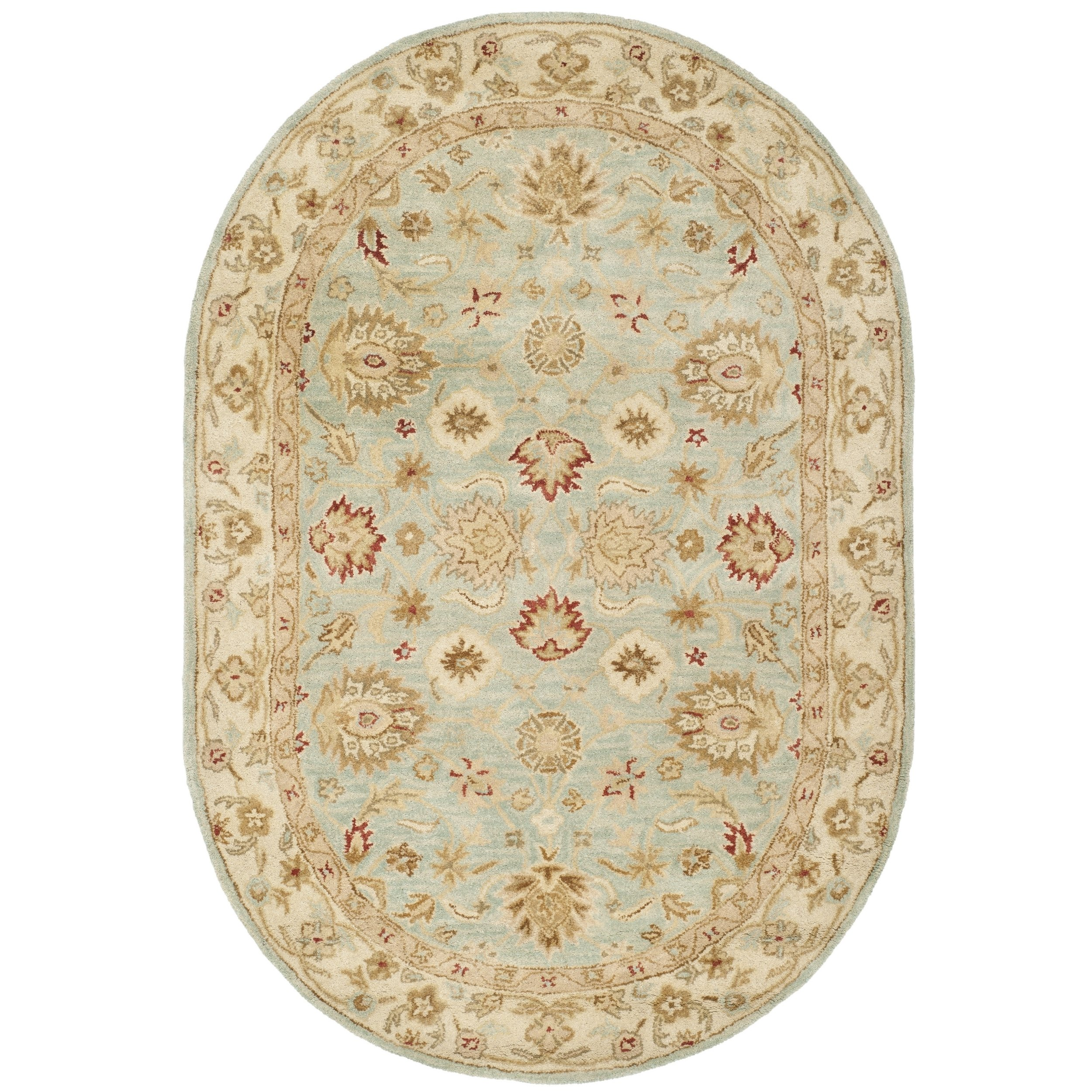 Safavieh Antiquities Collection AT822A Handmade Traditional Oriental Grey Blue and Beige Wool Oval Area Rug (7'6'' x 9'6'' Oval)