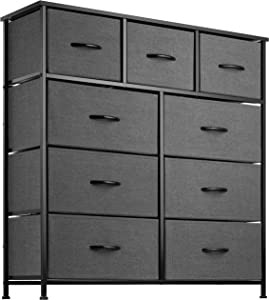 9 Drawer Dresser Organizer Fabric Storage Chest for Bedroom, Hallway, Entryway, Closets, Nurseries. Furniture Storage Tower Sturdy Steel Frame, Wood Top, Easy Pull Handle Textured Print Drawers