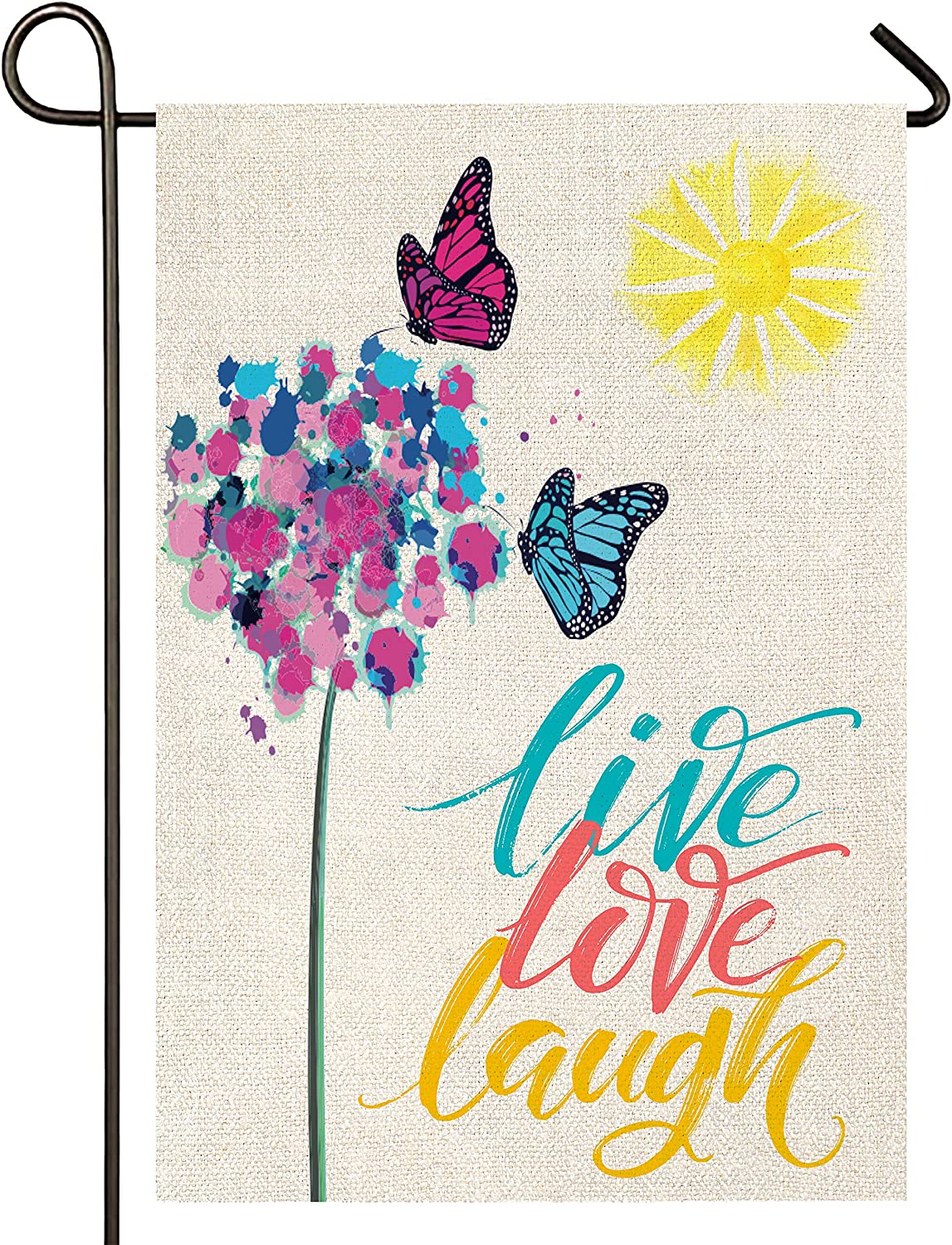 Atenia Live Love Laugh Butterfly Garden Porch Flag, Double Sided Garden Outdoor Yard Spring Decorative Home Flags for Summer Decor (Garden Size - 12.5X18)