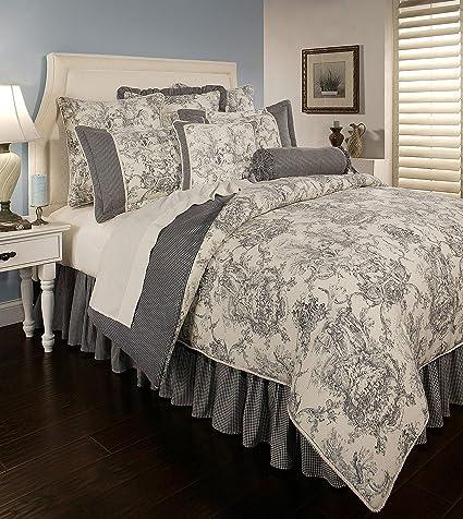 Amazon Com Sherry Kline Country Toile Blue 3 Piece Comforter Set