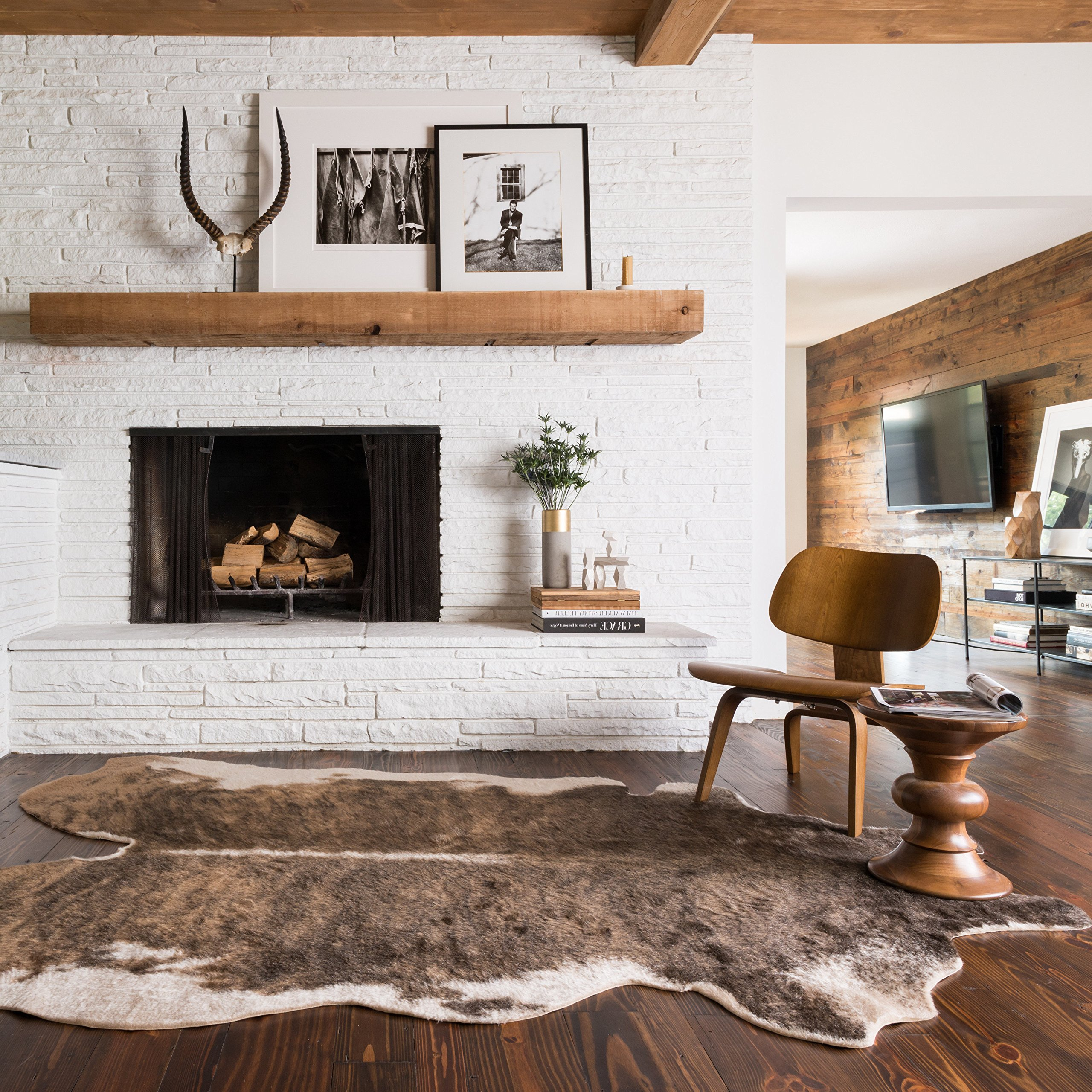 D&H 3'10 x5'ft Camel Beige Brown Animal Hide Faux Rawhide Area Rug, Indoor Southwestern Lodge Rustic Bedroom Living Room Flooring Rectangle Carpet, Country Style Cruelty Free Acrylic Synthetic Mat