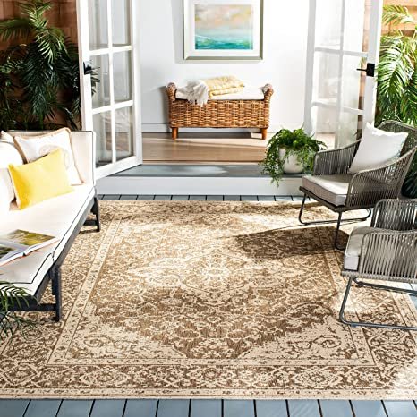 Safavieh Beach House Collection Bhs137d Indoor Outdoor Non Shedding Easy Cleaning Patio Backyard Porch Deck Mudroom Area Rug 5 3 X 7 6 Beige Cream Furniture Decor