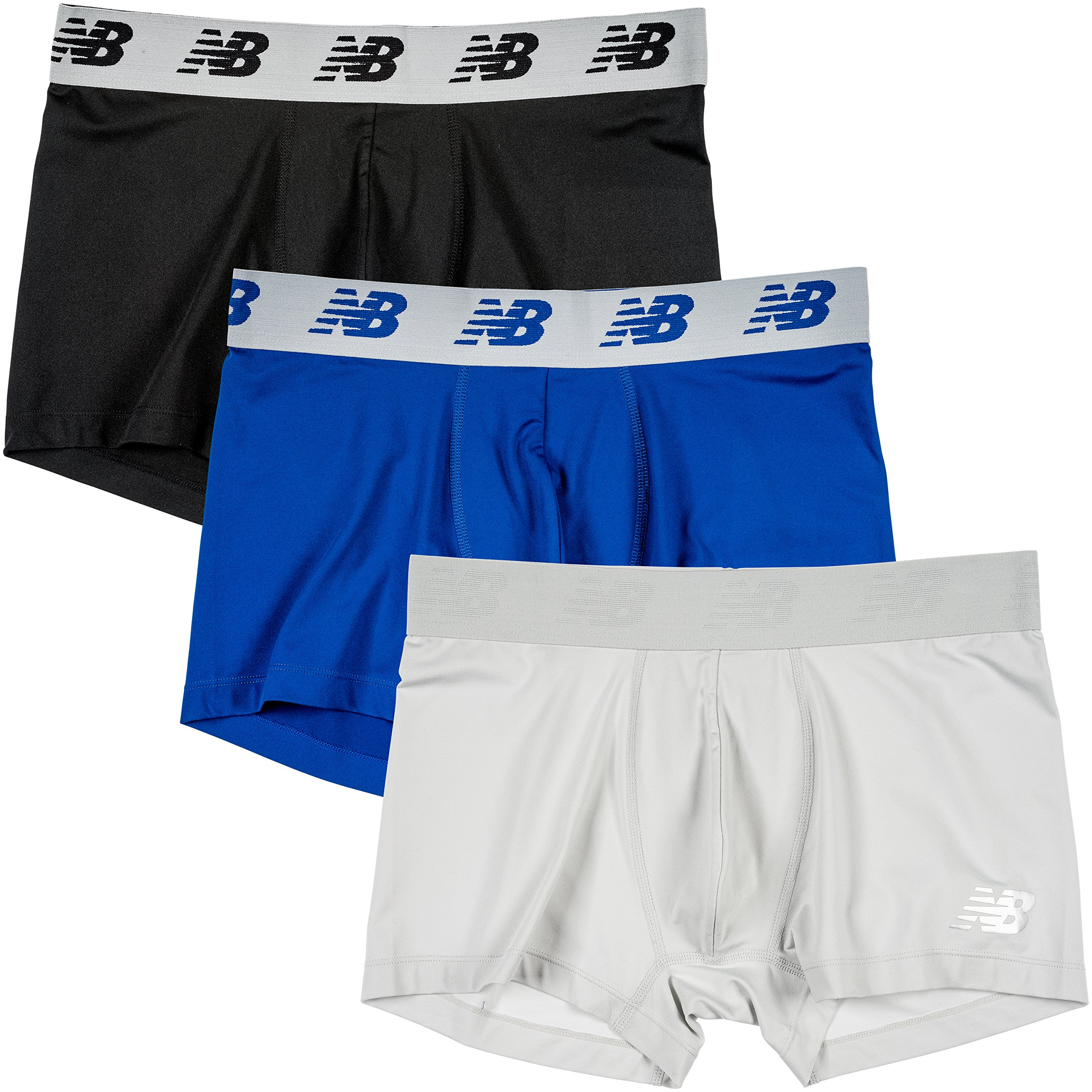 New Balance Men's 3'' Boxer Brief No Fly, with Pouch, 3-Pack,Black/Team Royal/Concrete, Medium (32''-34'')