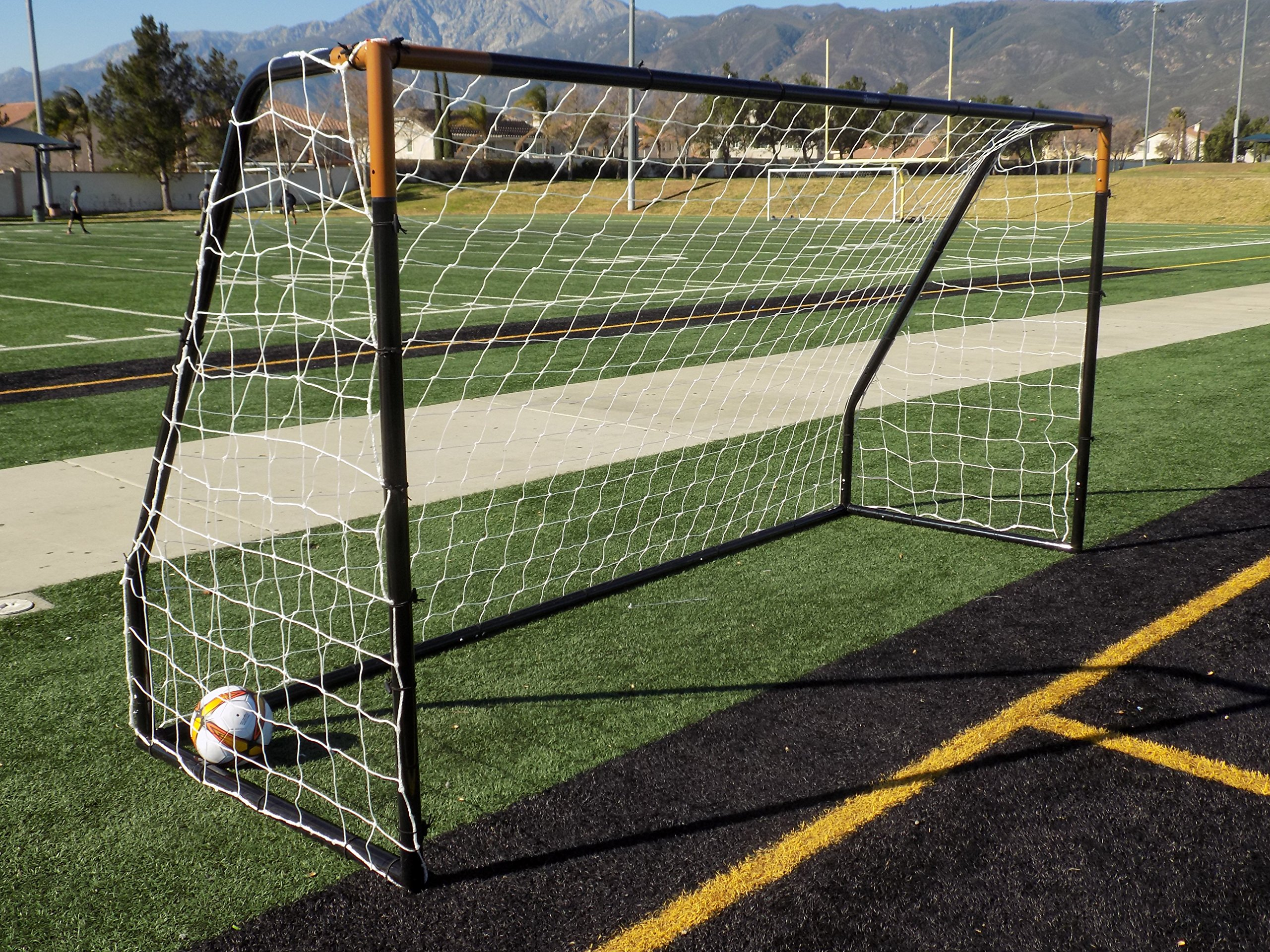 Vallerta Premier 12 X 6 Ft. AYSO Youth Regulation Size Soccer Goal w/Weatherproof 4mm Net. 50MM Diameter Black Powder Coated/Corrosion Resistant Frame. 12x6 Foot Practice Aid(1Net)ONE YEAR WARRANTY!