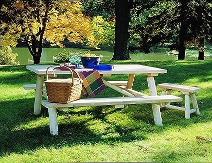 Fabulous Amazon Com Cedarlooks 0200021 Log Picnic Table Garden Interior Design Ideas Gentotryabchikinfo