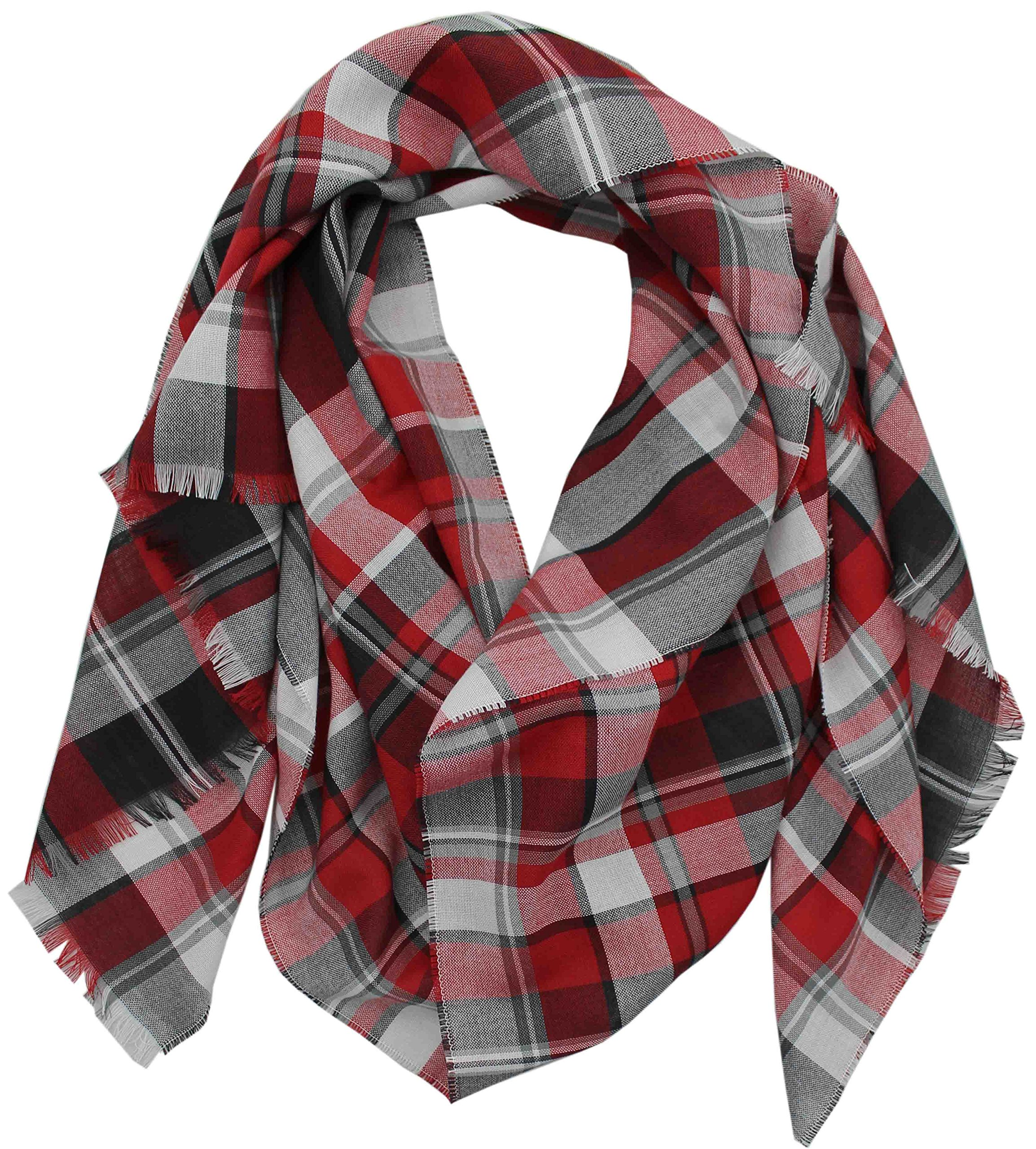 Cotton Scarf Men Scarf Summer Scarf Red Fox Plaid slightly multicolored 200 x 52 cm Made in Germany