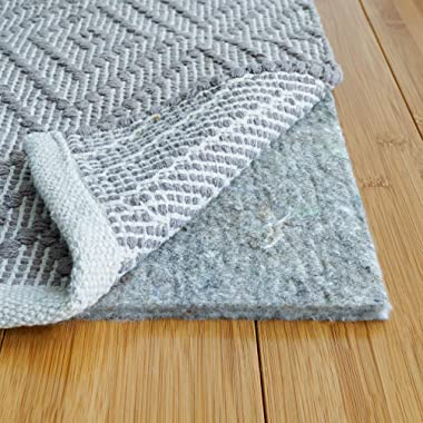 RUGPADUSA, 8' x 10', 1/3  Thick, Basics 100% Felt Rug Pad, Safe for All Floors and Finishes, Made in the USA