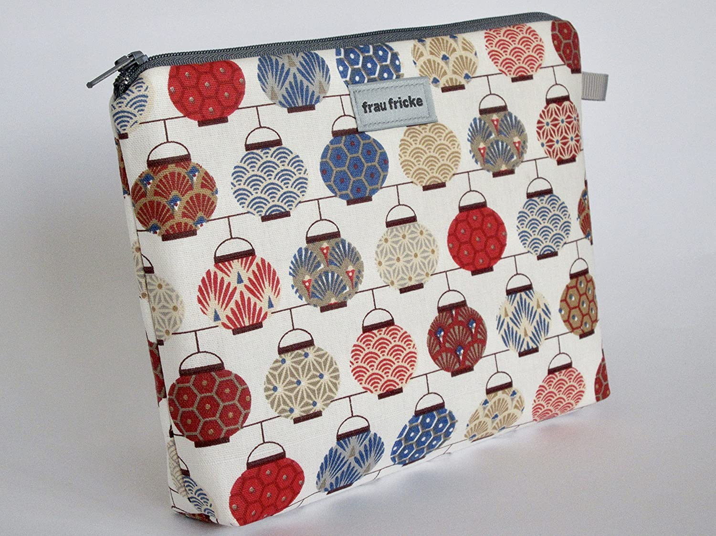 Kosmetiktasche Seigaiha Schminktasche Kulturtasche aus Designerstoff mit japanischen Motiven. Innen mit Wachstuch - abwaschbar - 100% Handmade