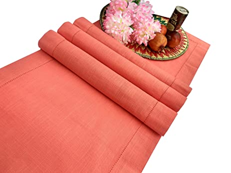 Gentil Slub Cotton Table Runner In Coral Color With Hemstitched Detailing And  Mitered Corner Finish On Edges