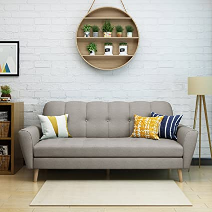 Angelina Mid Century Beige Fabric Sofa