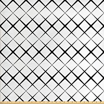 Amazoncom Ambesonne Black And White Fabric By The Yard Monochrome