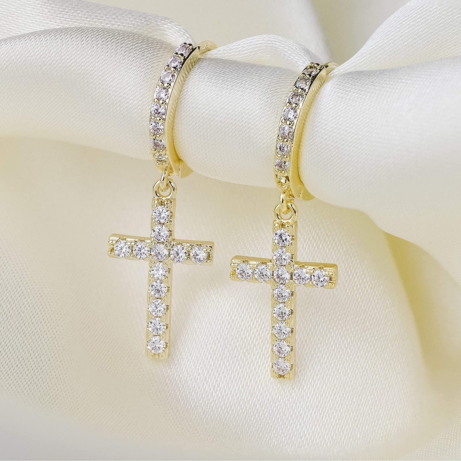 14k Gold Plated Cubic Zirconia Pave Small Hoop Earrings Dangle Cross for Women Men LAVLA Silver//Gold Cross Hoop Earrings