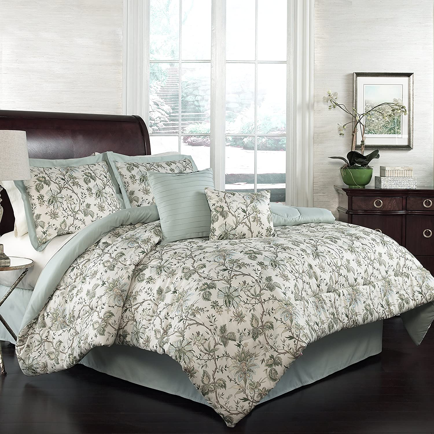 amazoncom traditions by waverly felicite 6 piece comforter collection king home u0026 kitchen - Waverly Bedding