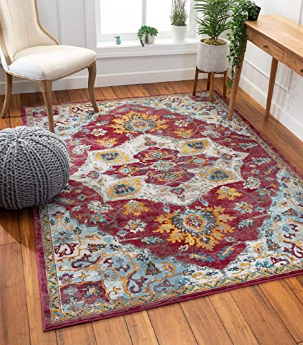 Well Woven Hannah Red Vintage Medallion Design Area Rug 8×10 7 10 x 9 10