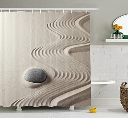 Spa Like Bathroom Decor.Ambesonne Spa Decor Shower Curtain By Caribbean White Sand In Shaped Like Waves Near A Grey Zen Stones Artwork Fabric Bathroom Decor Set With Hooks