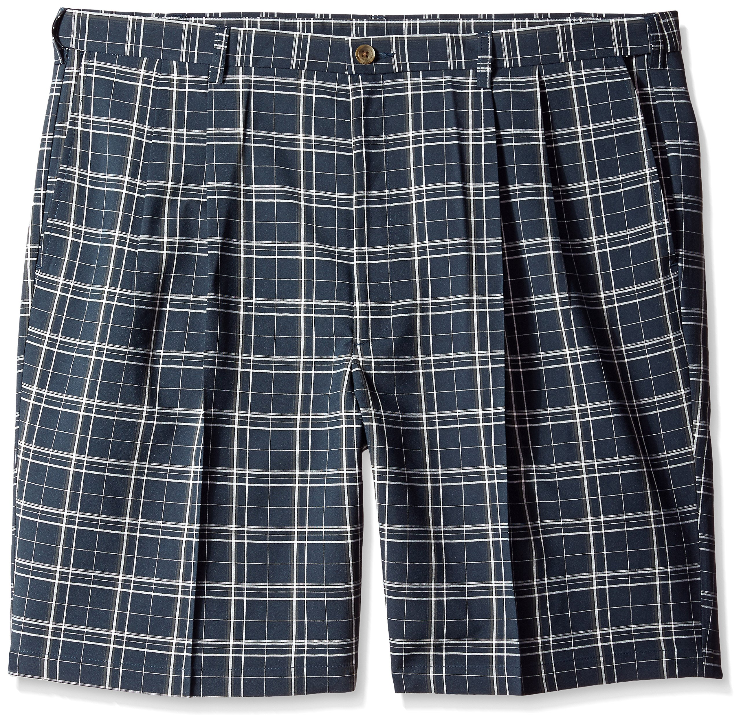 Haggar Men's Big-Tall Cool 18 Expandable Waistband Woven Plaid Pleat Front Short, Navy, 44W