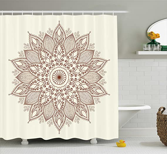 Ambesonne Beige Shower Curtain, Mandala Flower Ethnic Lace Circle Ornate Retro Pattern Eastern Universe Artistic, Fabric Bathroom Decor Set with Hooks, 84 Inches Extra Long, Ivory Brown