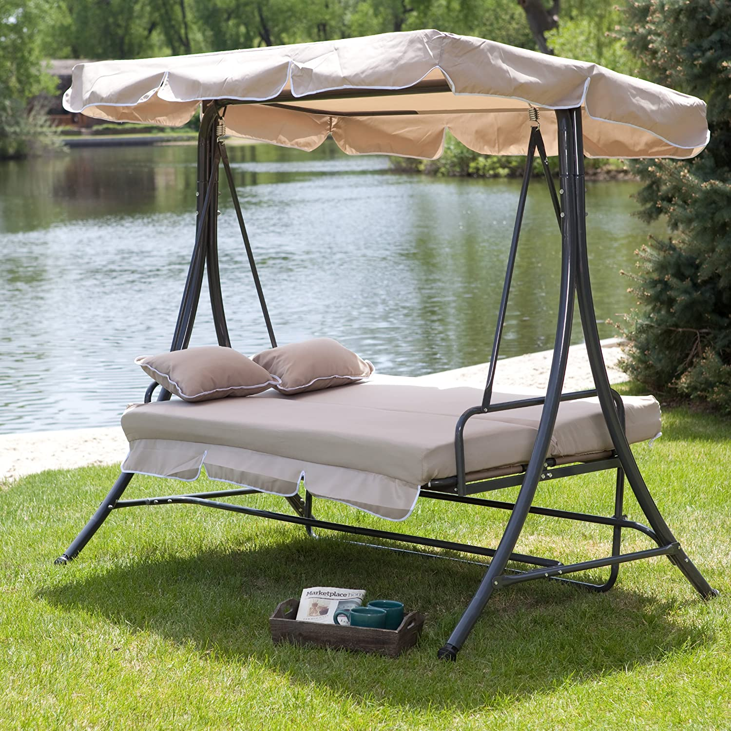 Amazon.com : Canopy Patio Porch 3 Person Swing Lounger Chair And Bed    Cappuccino : Garden U0026 Outdoor