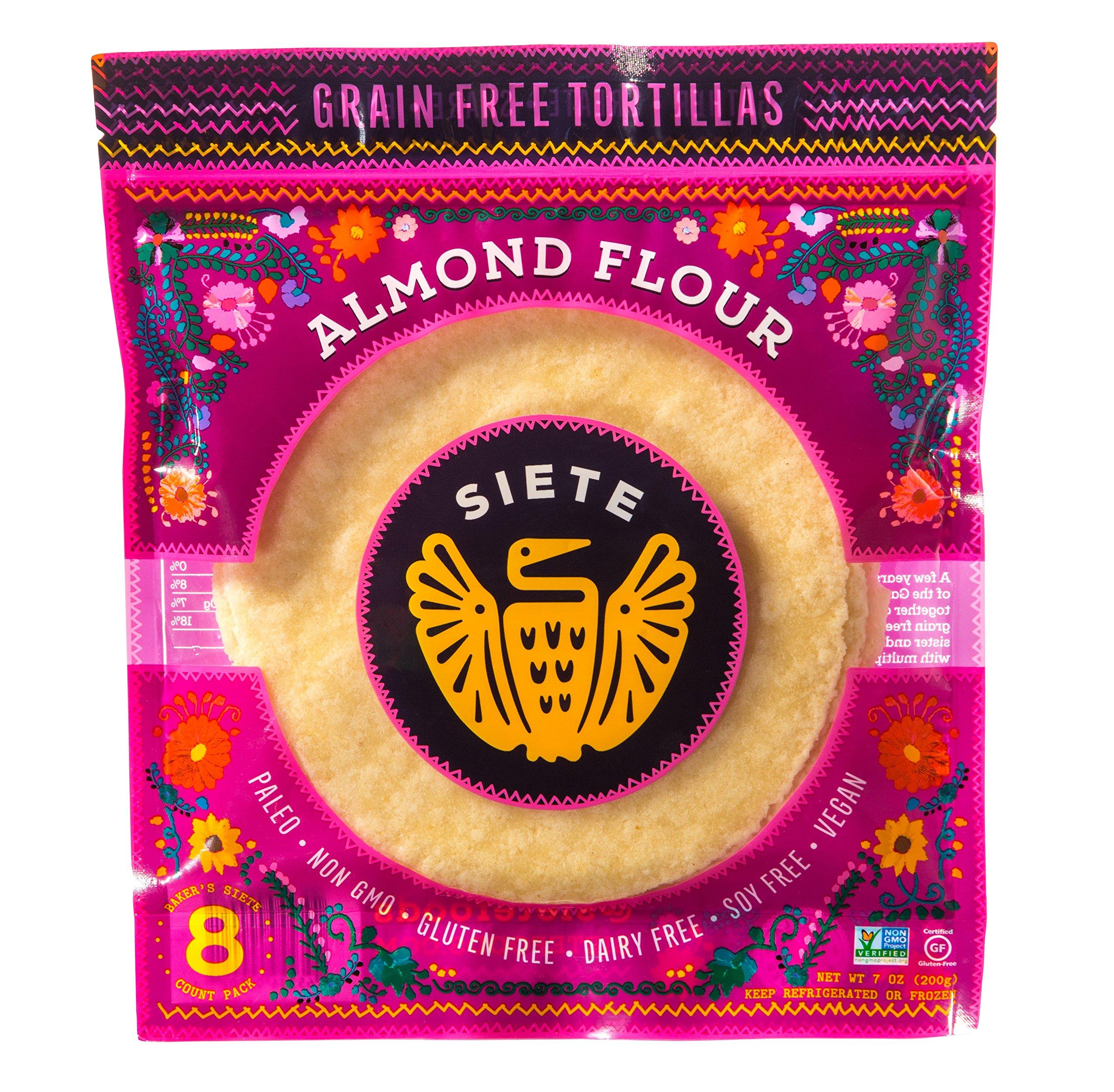 Siete Almond Flour Grain Free Tortillas, 8 Tortillas Per Pack, 2-Pack, 16 Tortillas by Siete