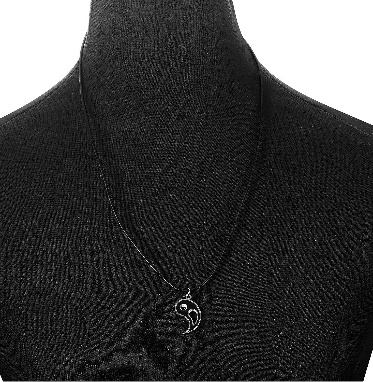 sailimue 2 Piezas Acero Inoxidable Collar Yin Yang Hombre Mujer Colgante Collar Pareja Partido Collar
