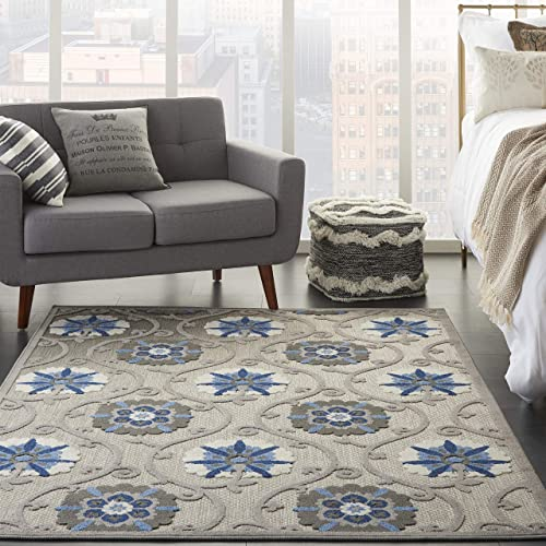 Nourison Aloha Indoor/Outdoor Floral Grey/Blue 3'6″ x 5'6″ Area Rug 4' x 6'