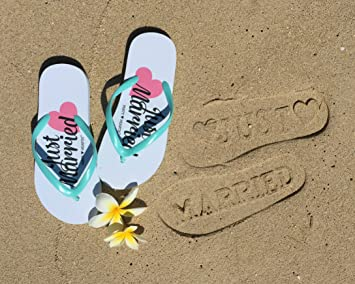 ab9480e31f5d Amazon.com  Just Married Flip Flops (Size 9 10) Stamp   Imprint on ...