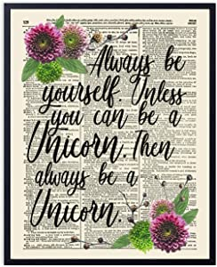 Printsmo, Always Be a Unicorn Typography Quote, Vintage Dictionary Art Print, Inspirational Art Print with Rustic Floral Accent, Wall Art for Home Decor and Girl's Bedroom, 8x10 inches, Unframed