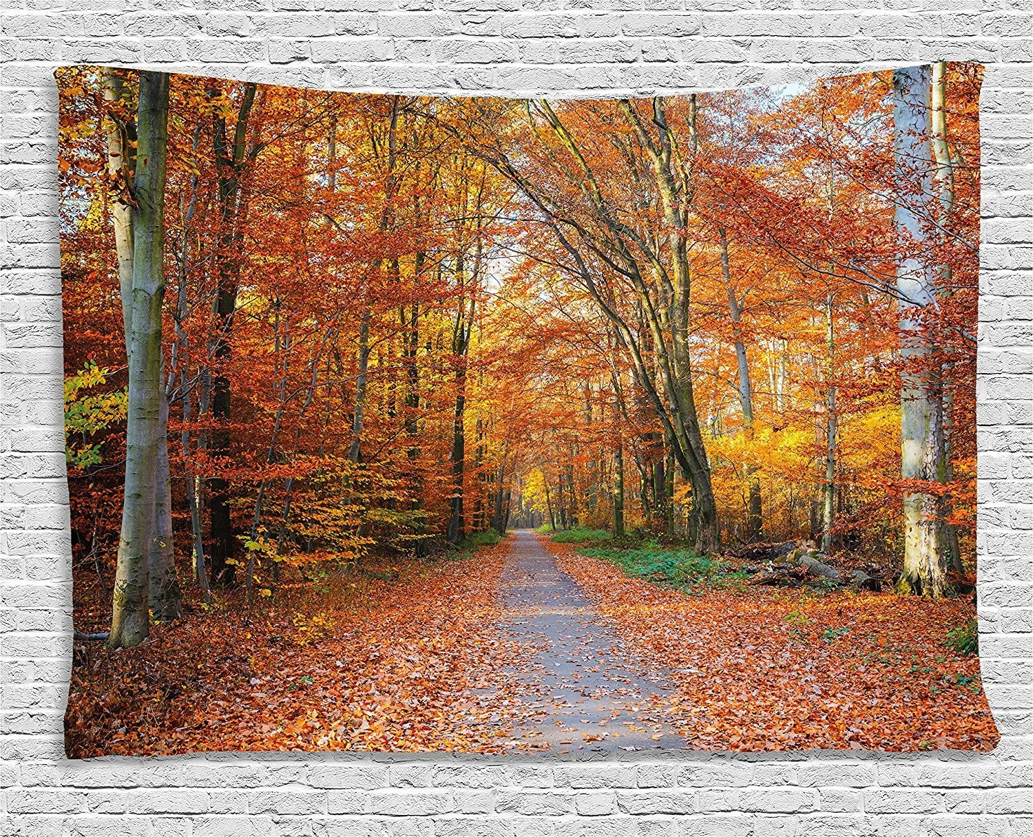 Ambesonne Fall Tapestry, Pathway Covered with Fallen Leaves Through Fall Forest Vibrant Trees Print, Wide Wall Hanging for Bedroom Living Room Dorm, 80