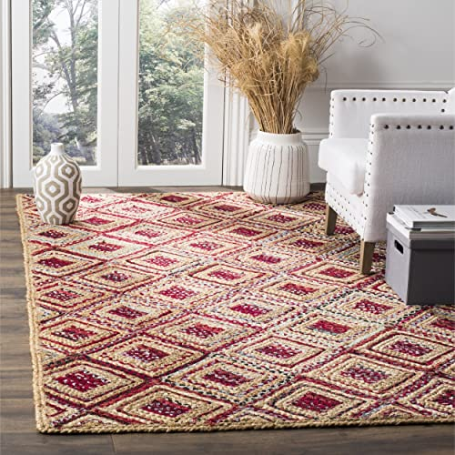 Safavieh Cape Cod Collection CAP354B Hand Woven Flatweave Diamond Geometric Natural and Red Jute Area Rug 4 x 6