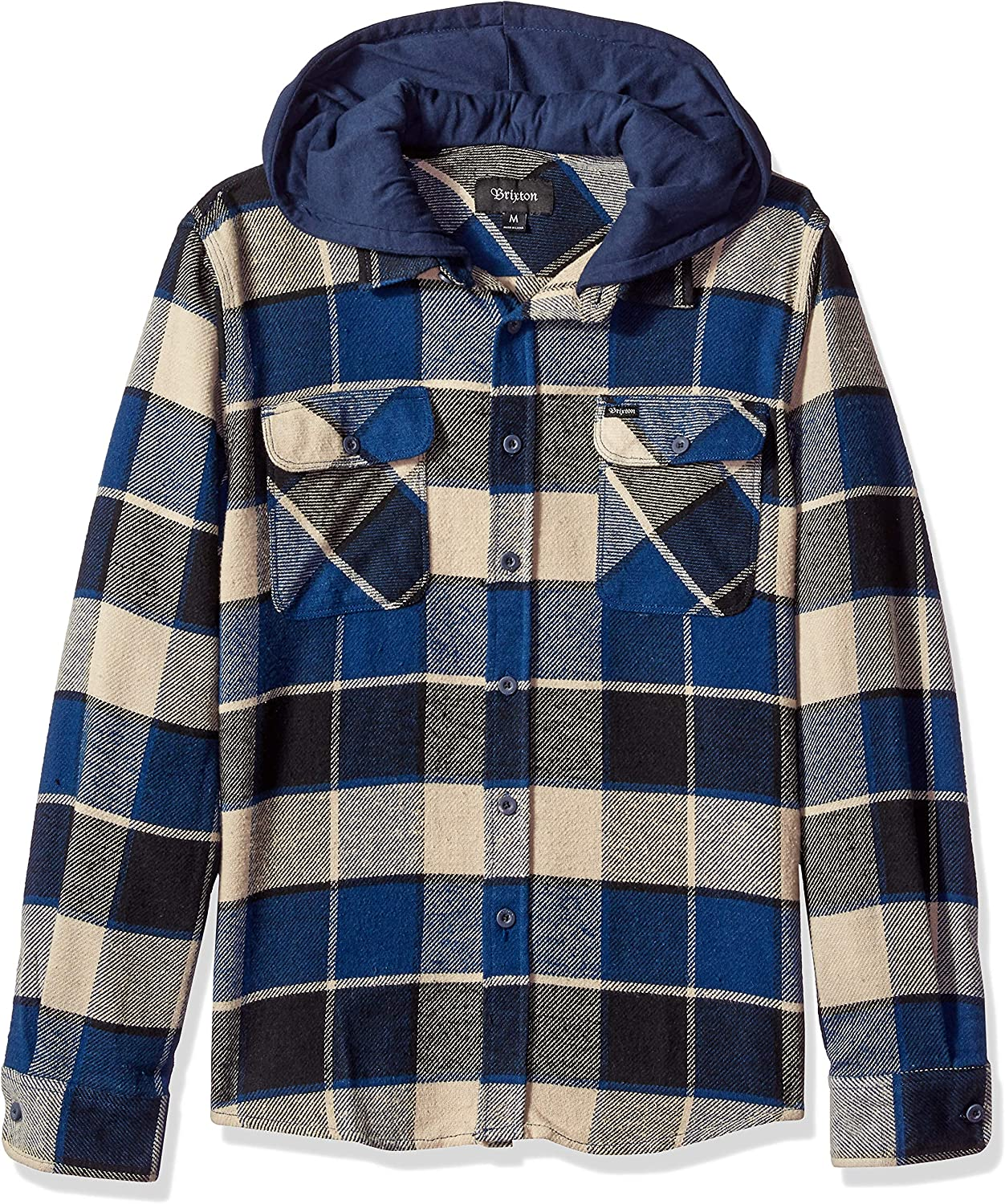 Brixton Mens Bowery Long Sleeve Standard Fit Hooded Flannel