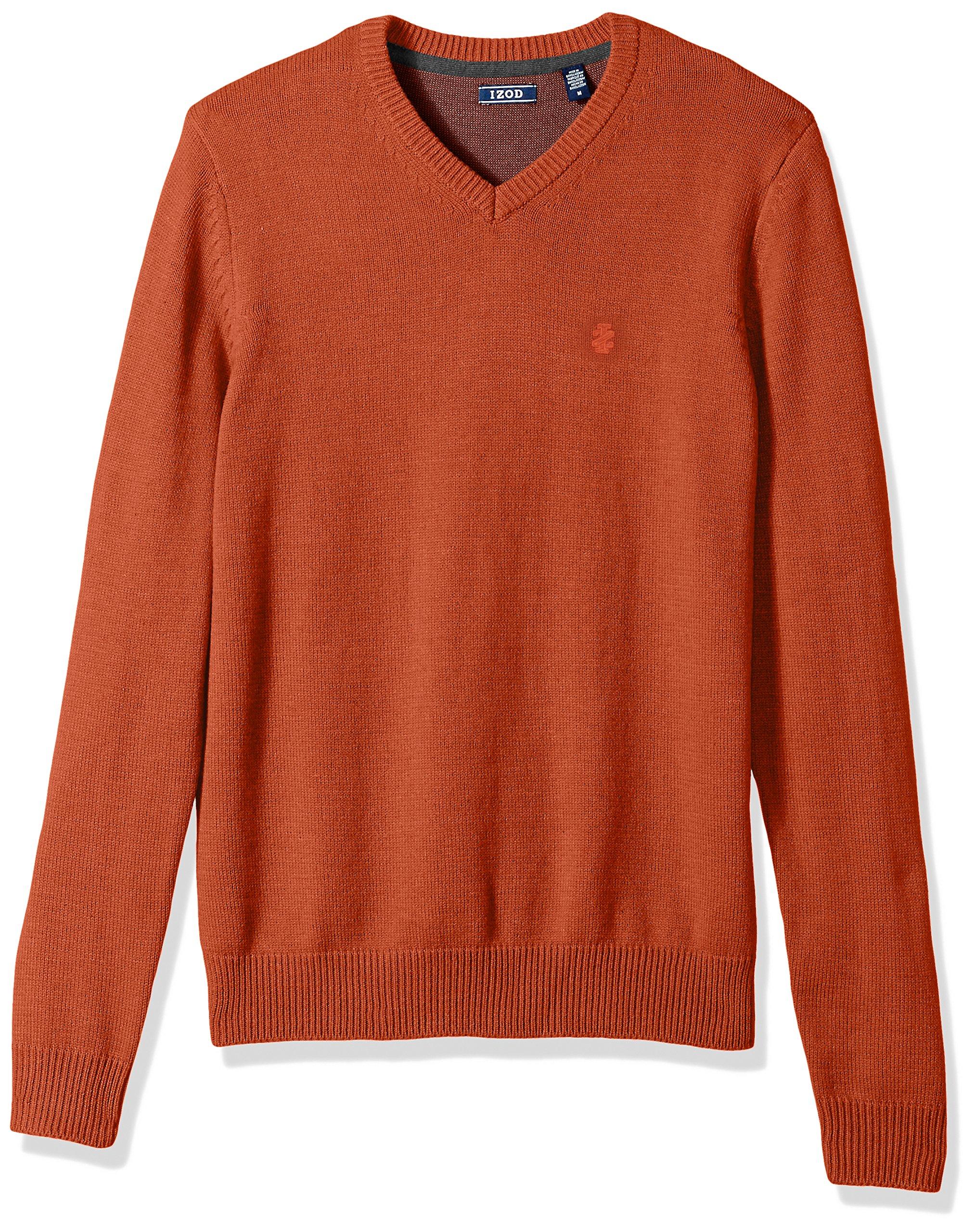 IZOD Men's Fine Gauge Solid V-Neck Sweater, Rooibos Tea, X-Large