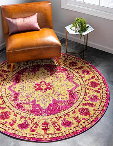 Unique Loom Medici Collection Floral Distressed Traditional Pink Round Rug 8 0 x 8 0