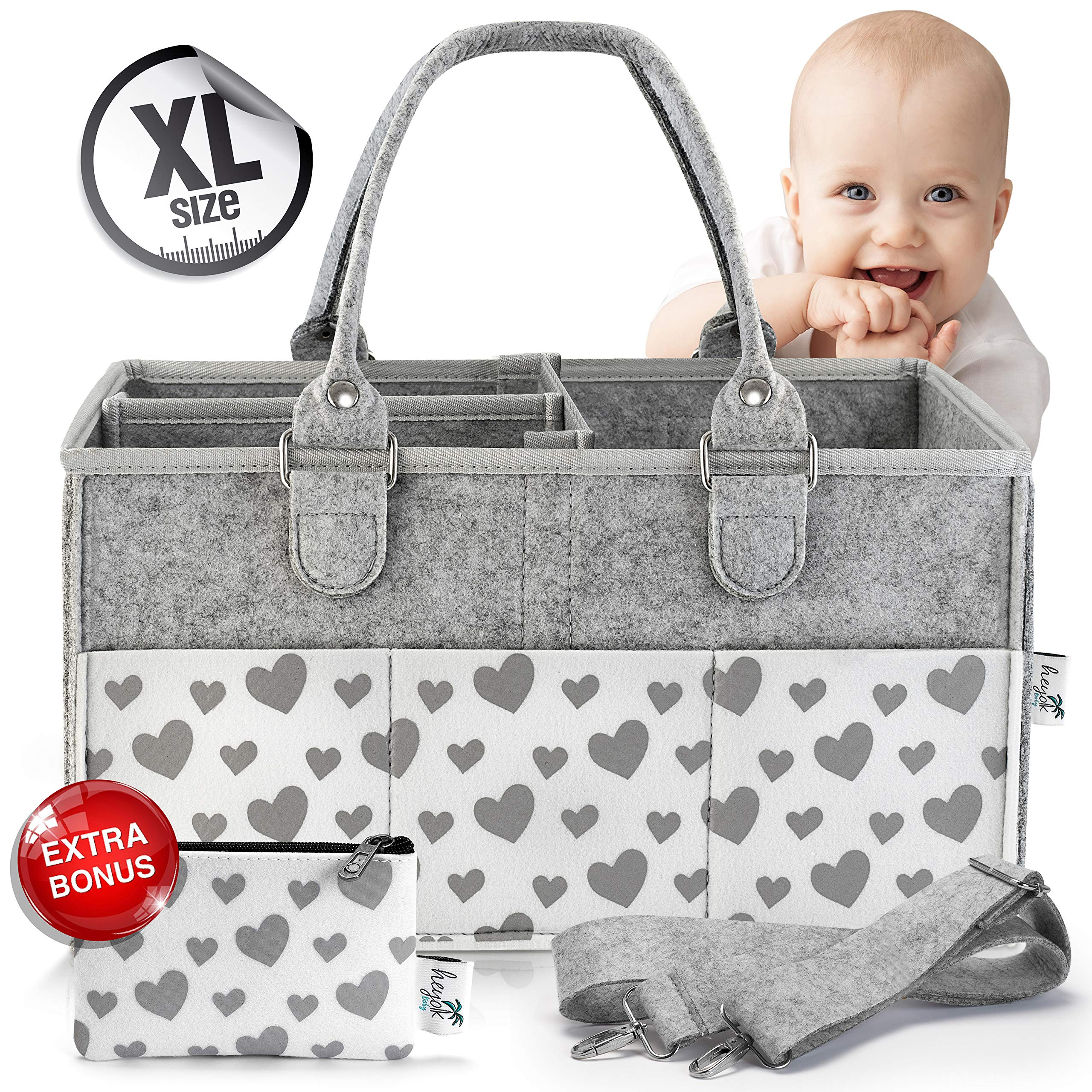Baby Diaper Caddy Organizer for All Changing Table Necessities. Unisex - Large, Sturdy, Quality w/ 10 Outer Pockets, Regular and Travel Handles, Double Bottom - Bonus Small Item Wallet - Gray Hearts by HEYOK Baby