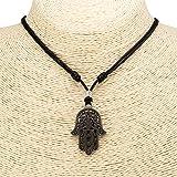 Hamsa Hand of Fatima Pendant on Adjustable Black