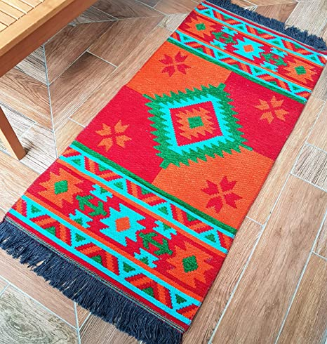 Amazon Com Secret Sea Collection Mexican Area Rug Double Sided Washable 2 X 4 Red Orange Turquoise Kitchen Dining