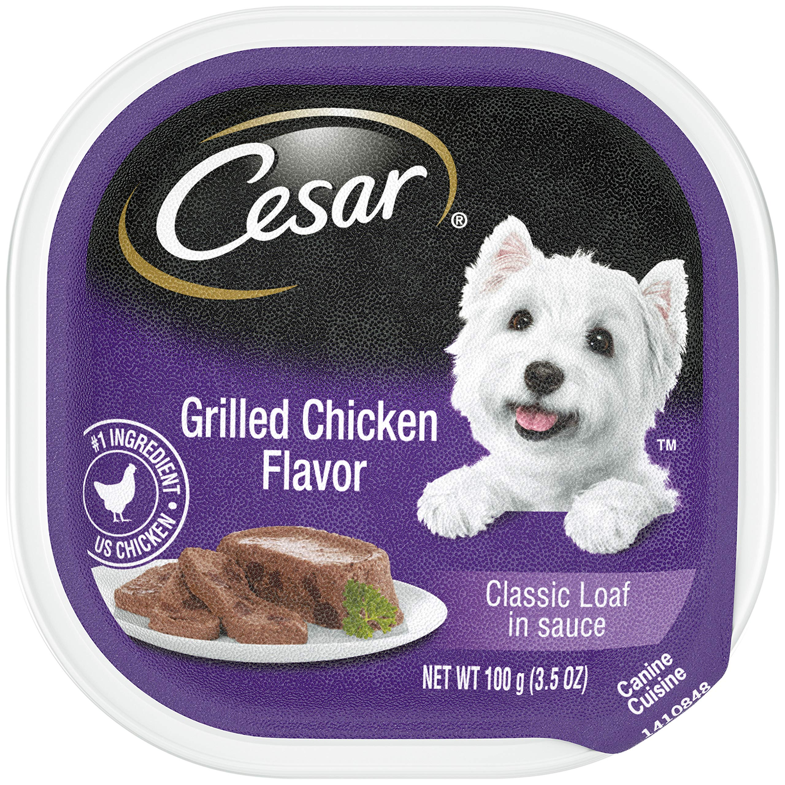 CESAR Soft Wet Dog Food Classic Loaf in Sauce Grilled Chicken Flavor, (24) 3.5 oz. Easy Peel Trays by Cesar