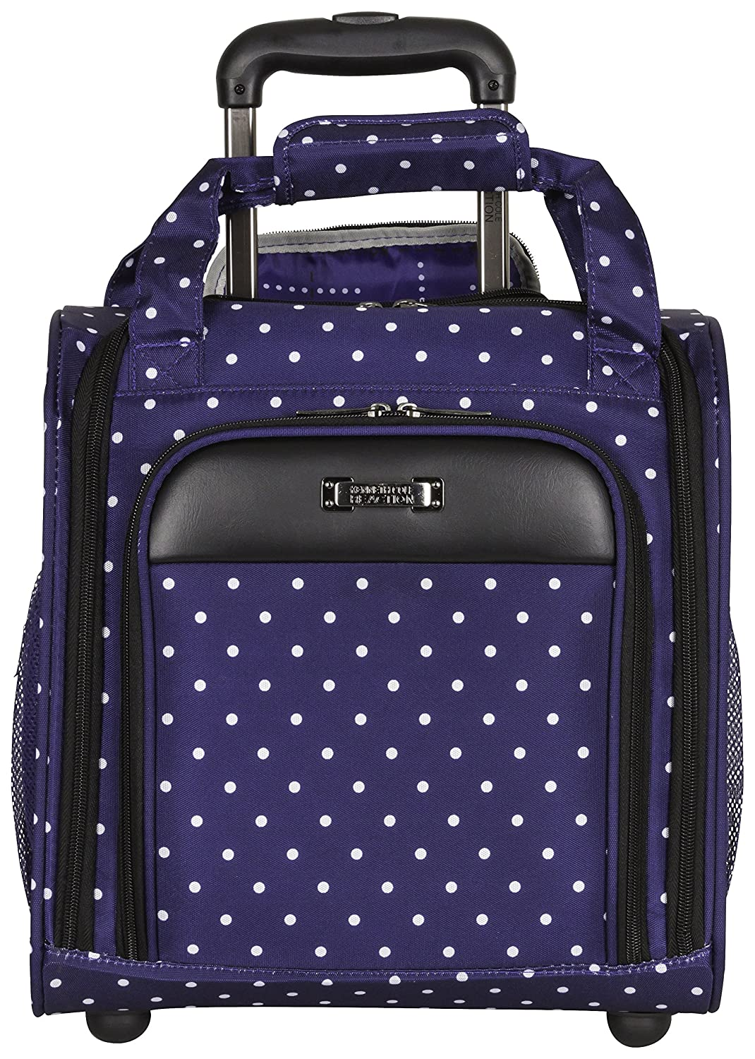 Kenneth Cole Reaction Dot Matrix 14' 600d Polka Dot Polyester 2-Wheel Underseater Carry-on, Navy Heritage-Kenneth Cole Luggage 5710097